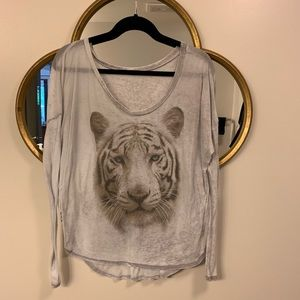Chaser White Tiger Long Sleeve Blouse